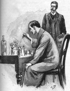 kuva 5 Sherlock-Holmes-Experimenting-Watson-by-Sidney-Paget-1893